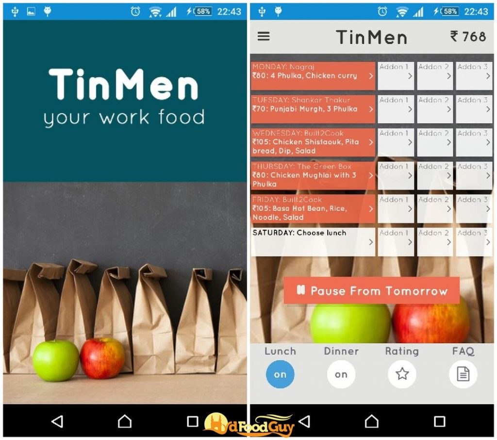 TinMen - App Interface