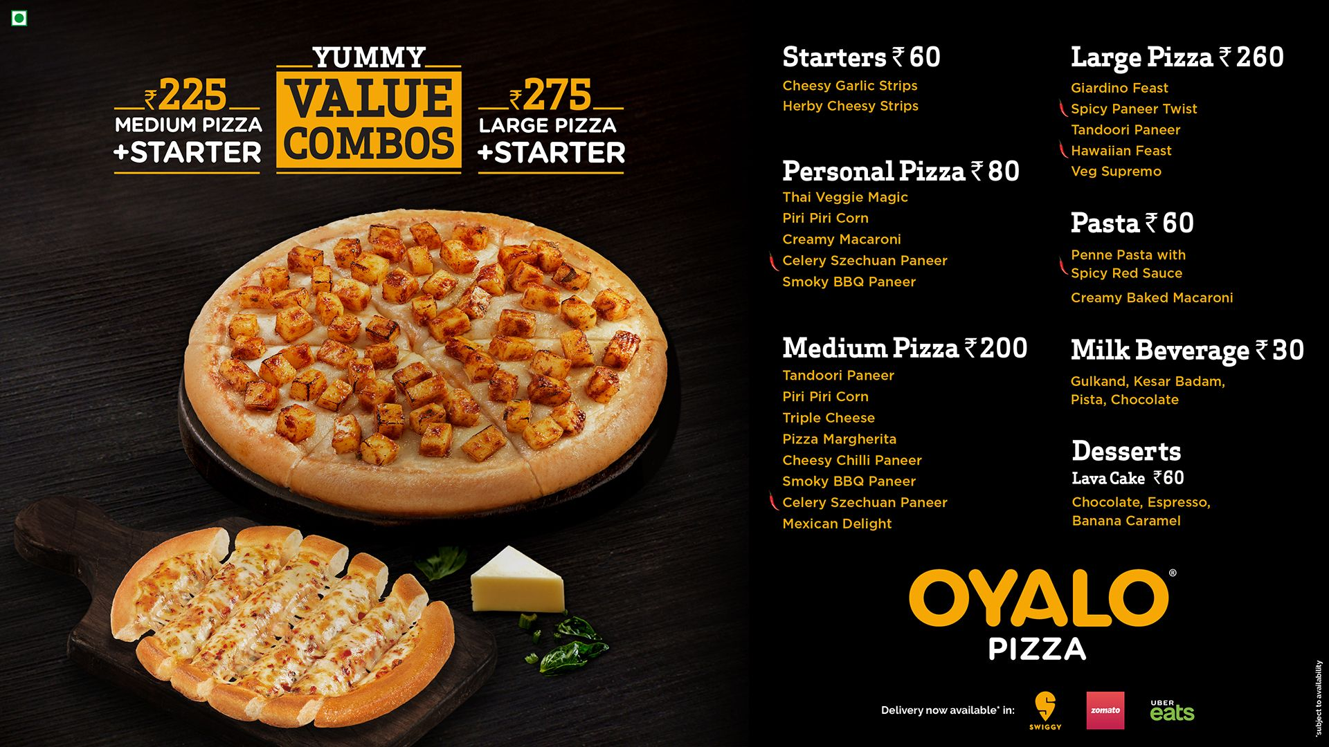 Oyalo Pizza Menu